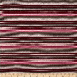 Smocked Yarn Dyed Jersey Knit Stripe Brown/Pink/Red/Ivory Fabric