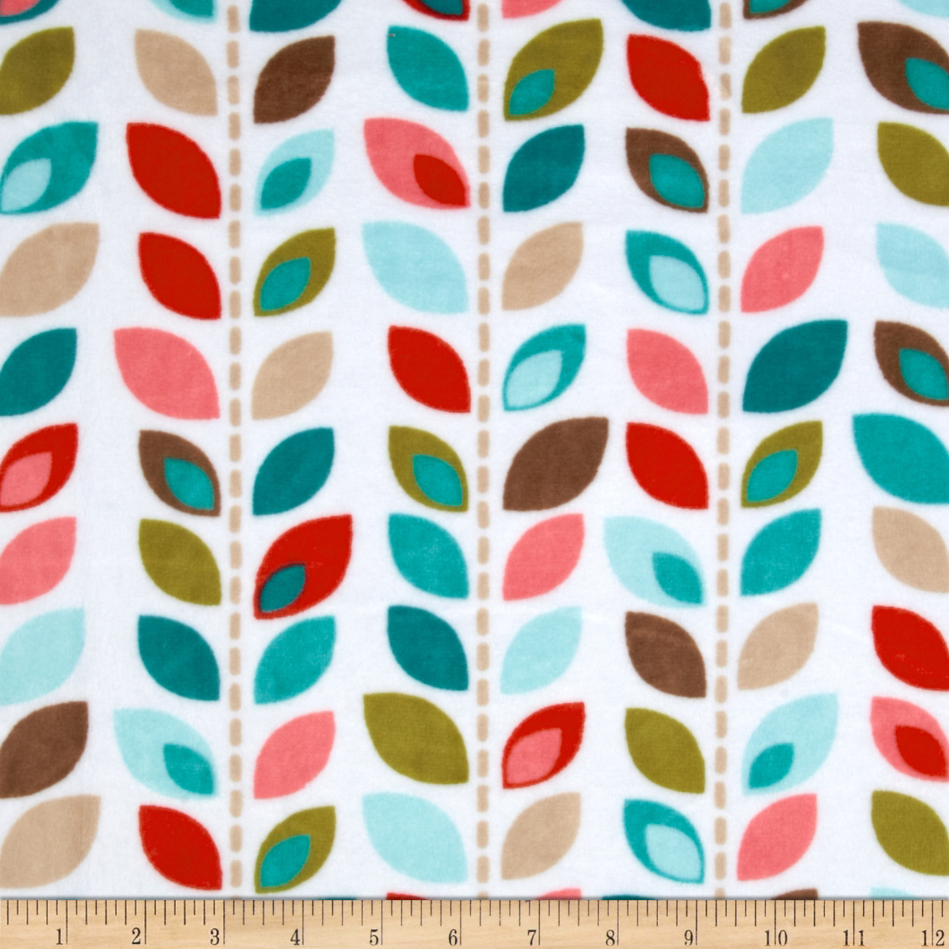 Adorn-it Minky Cuddle Leaf Row Coral Fabric