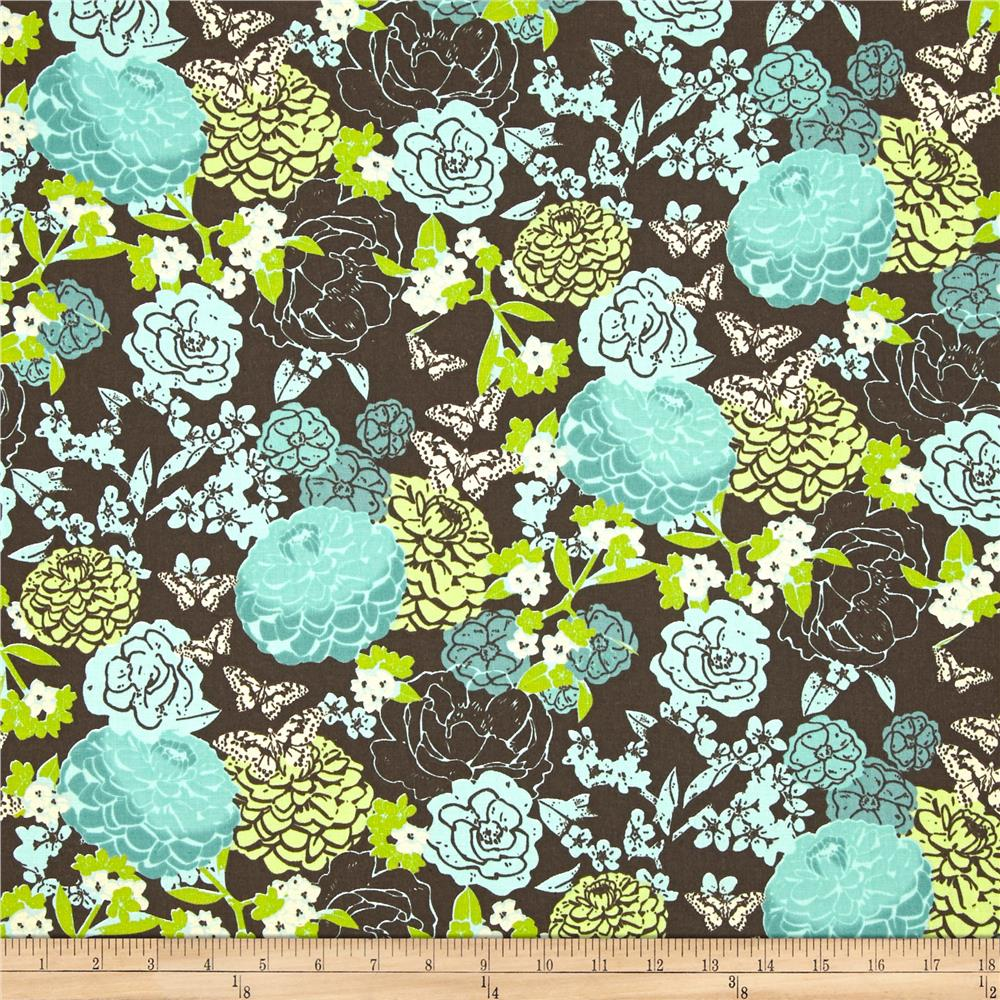Zinnia Blue Lead Floral Brown