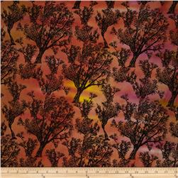 Indian Batik Hand-Dye Trees Orange/Brown