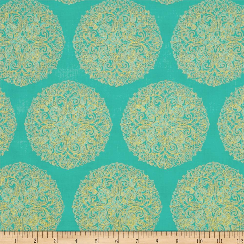 Paisley Peacock Metallic Medallions Spearmint/Gold