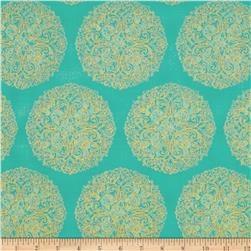 Paisley Peacock Metallic Medallions Spearmint/Gold Fabric