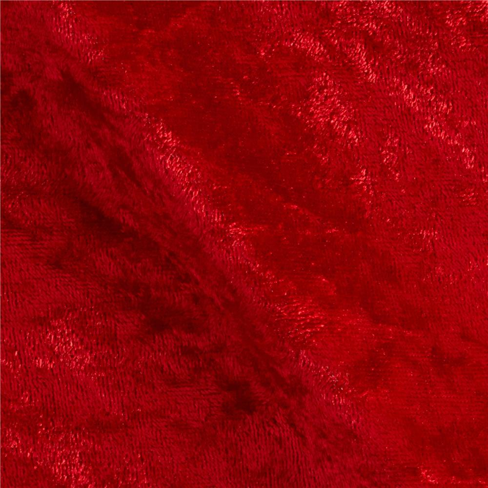 Stretch Panne Velvet Velour Red Discount Designer Fabric