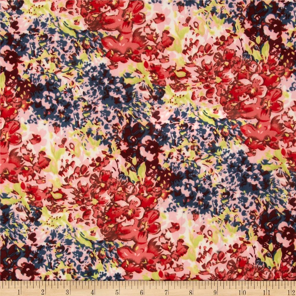 Stretch ITY Jersey Knit Floral Blue/Red