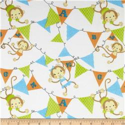 Flannel Monkeys & Banners White Fabric