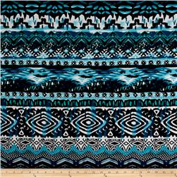 ITY Stretch Jersey Knit Hearts/Abstract Diamond Print Turquoise/Black/White