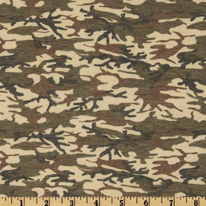 Stretch Rayon Blend Jersey Knit Camo Cream/Olive