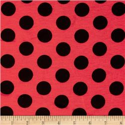 Stretch Jersey Knit Polka Dots Red/Black