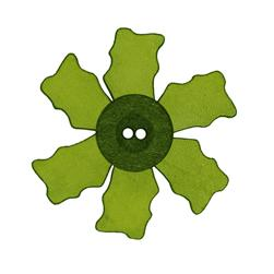 2.25'' Leather Button Flower Green
