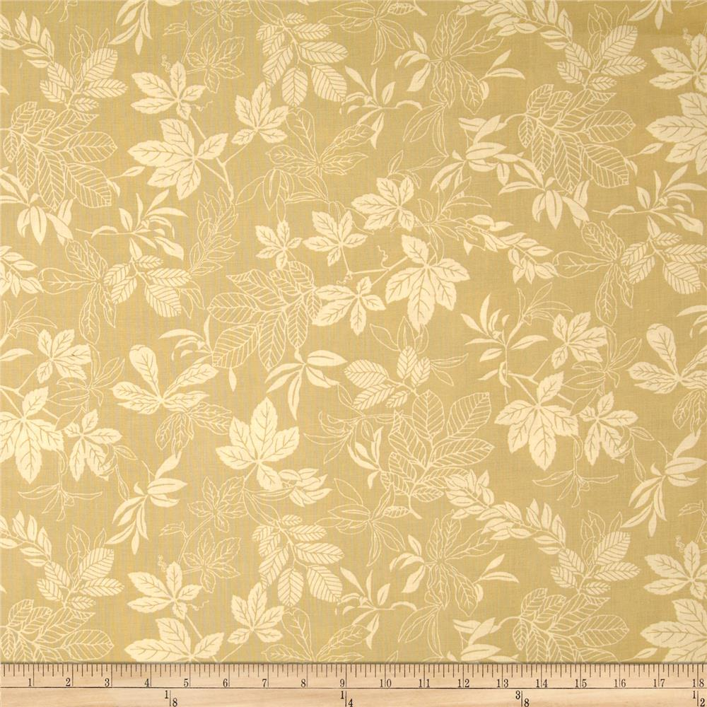 "108"" Wide Quilt Back Modern Leaf Gold/Tan"