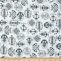 Moda The Boat House Anchors Aweigh Navy