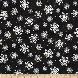 Wonder of Winter Snowflakes Flannel Black