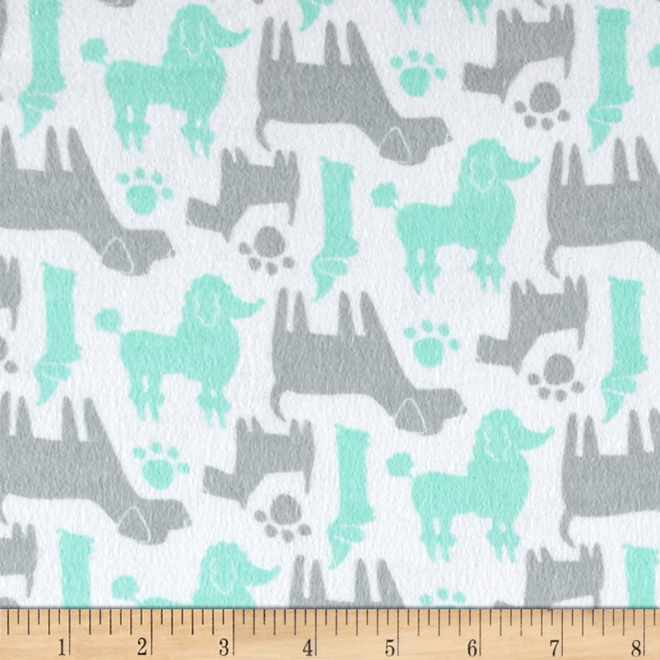 Flannel Dog Silhouettes Aqua Fabric