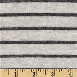 Yarn Dyed Slub Jersey Knit Stripe Charcoal/Ivory Fabric