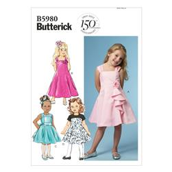 Butterick Children's/Girls' Dress Pattern B5980 Size CDD