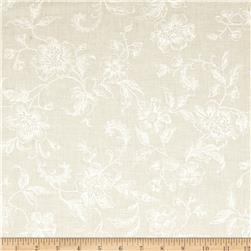 108'' Wide Whisper Print Floral Toile Ivory Fabric