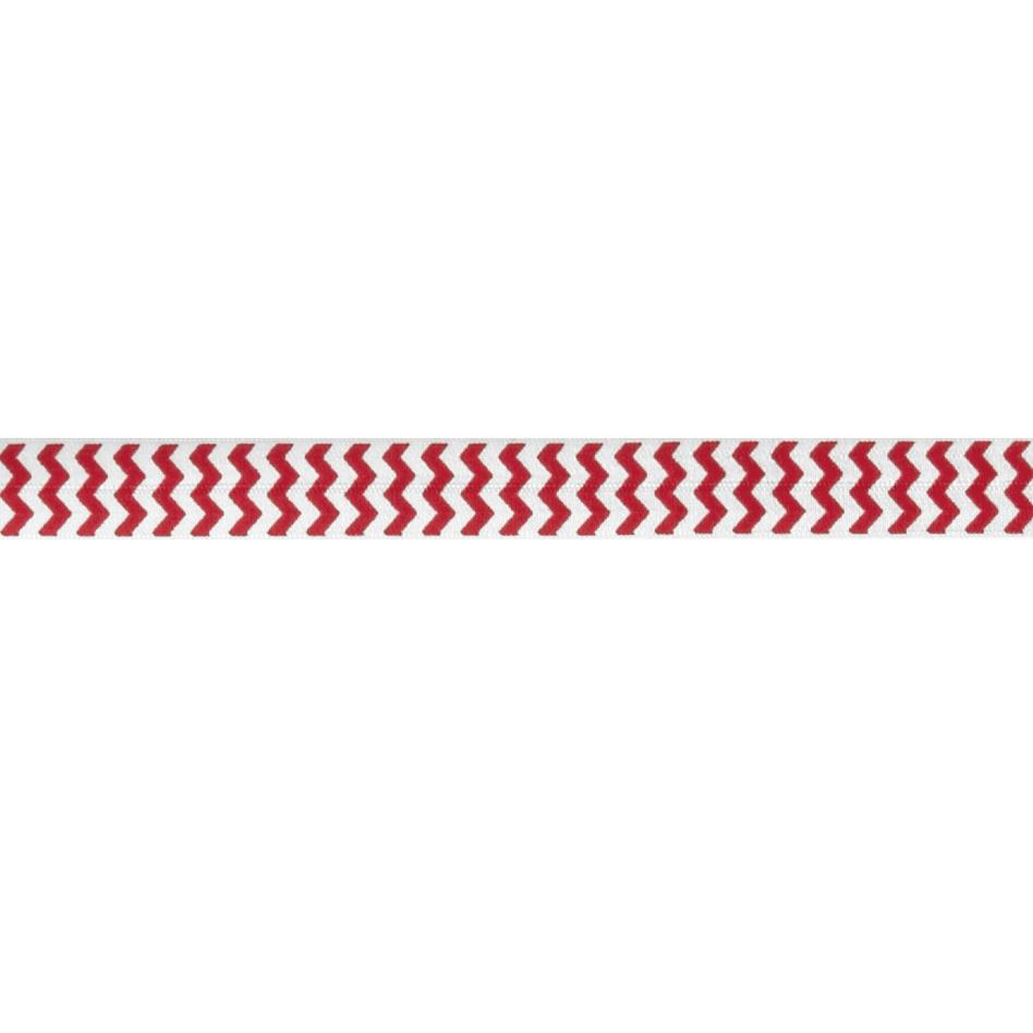 "5/8"" Fold Over Elastic Chevron Red"