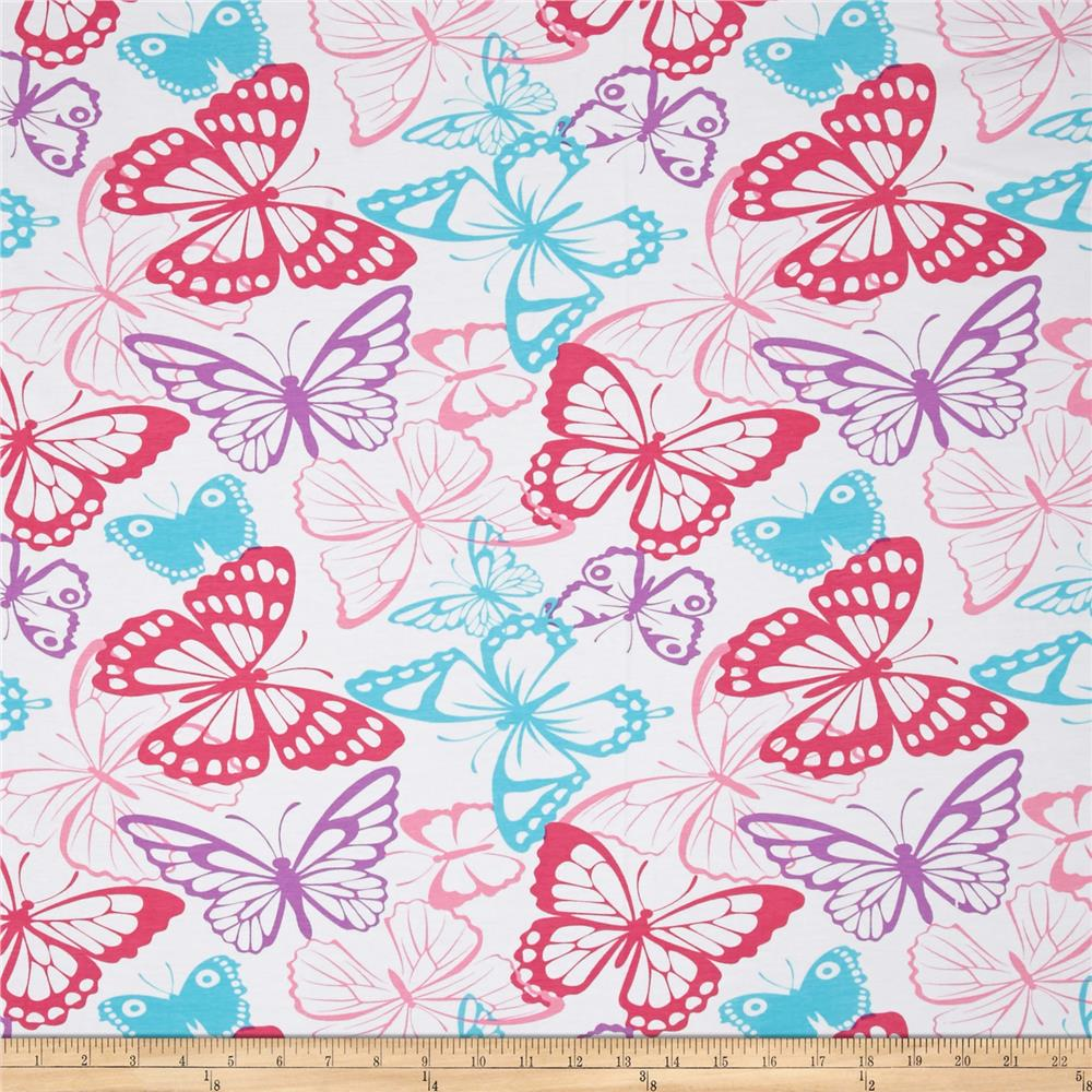 Jersey Knit Butterfly Packed White