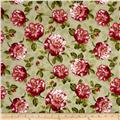 Romantic Afternoon Flannel Medium Floral Green