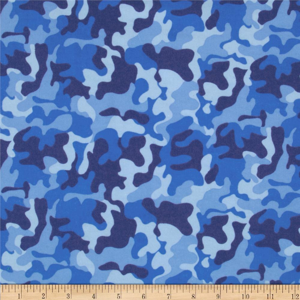 Fabri-Quilt Cuddle Flannel Camo Blue