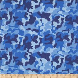 Fabri-Quilt Cuddle Flannel Camo Blue Fabric