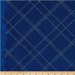 Kaufman Carkai Metallic Diagonal Plaid Navy