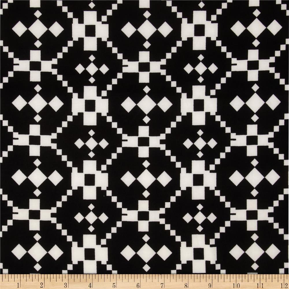 Stretch ITY Jersey Knit Aztec Black/White