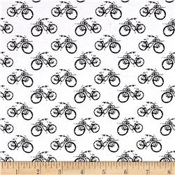 Telio Dakota Stretch Jersey Knit Bicycles on White