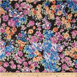 Satin Face Crepe de Chine Floral Black