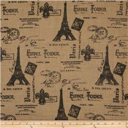 Printed Burlap Paris Eiffel Tower Fabric