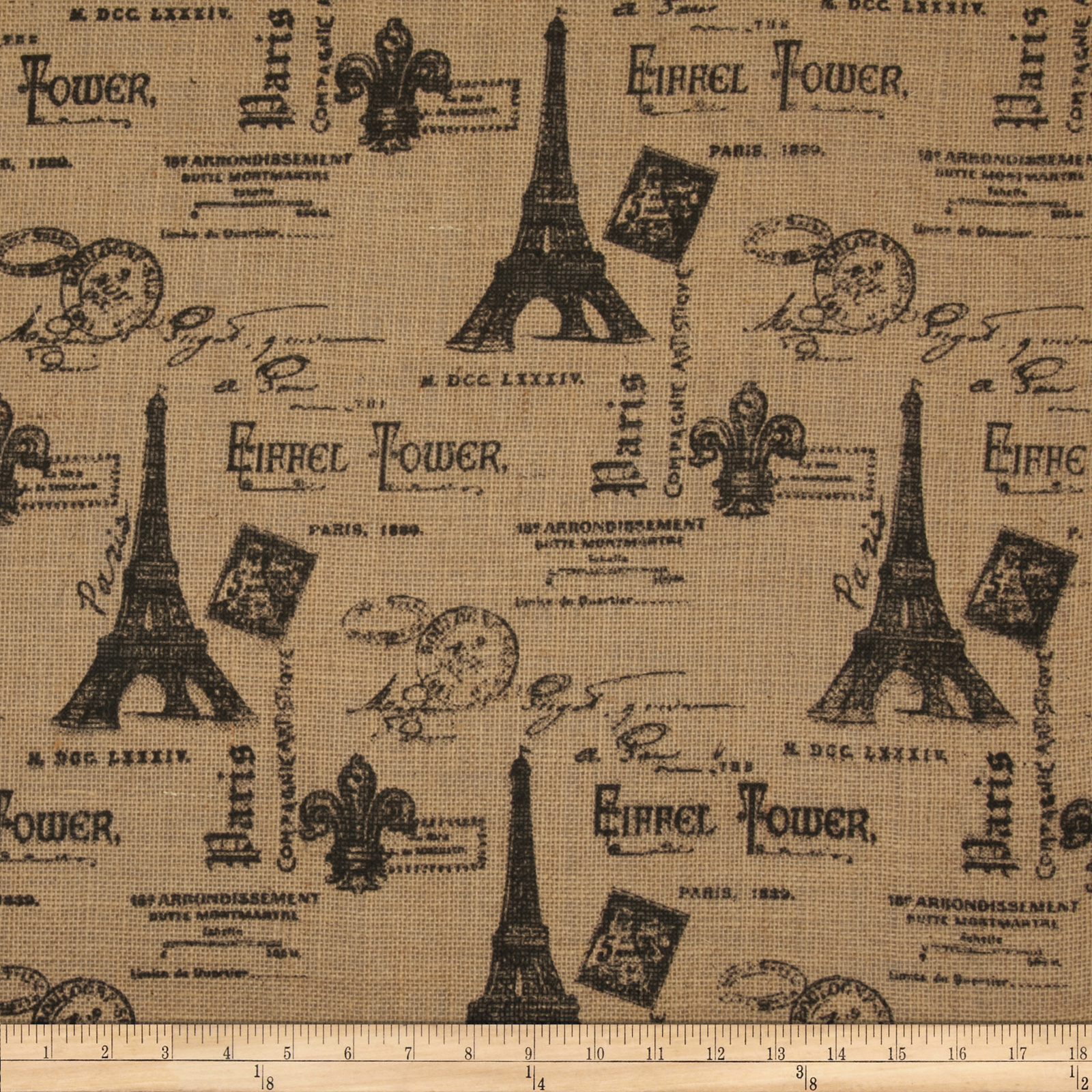 Printed Burlap Paris Eiffel Tower Natural/Black Fabric