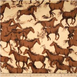 Winterfleece Wild Horses Multi Fabric