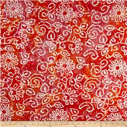 Indian Batik Crinkle Cotton Print Floral Scroll Orange Pink