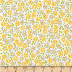 Kaufman Cozy Cotton Flannel Flower Yellow