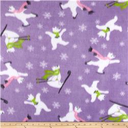Fleece Print Skating Bears Purple