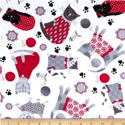 Kanvas Knitty Kitty Flannel Cozy Cats Red