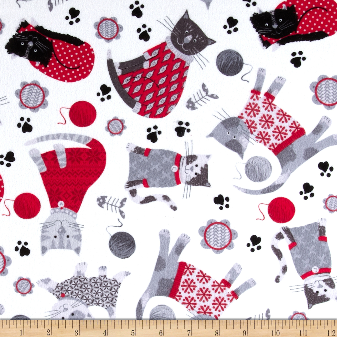 Kanvas Knitty Kitty Flannel Cozy Cats Red Fabric