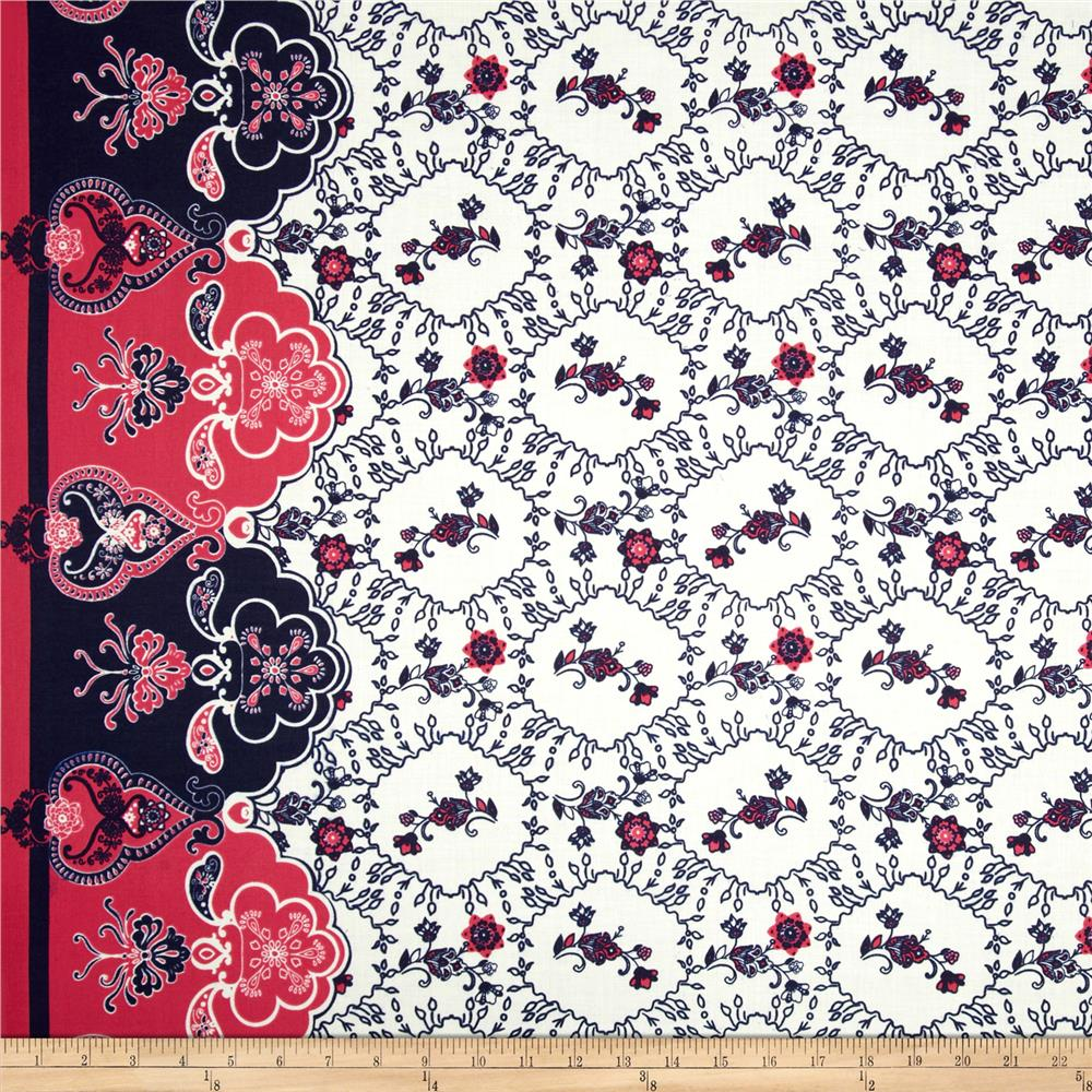 Cotton Lawn Flourish Border Hot Pink/Navy