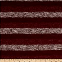 Brushed Hatchi Knit Stripe Wine/Ivory