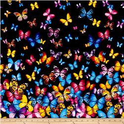 Timeless Treasures Butterflies Double Border Black
