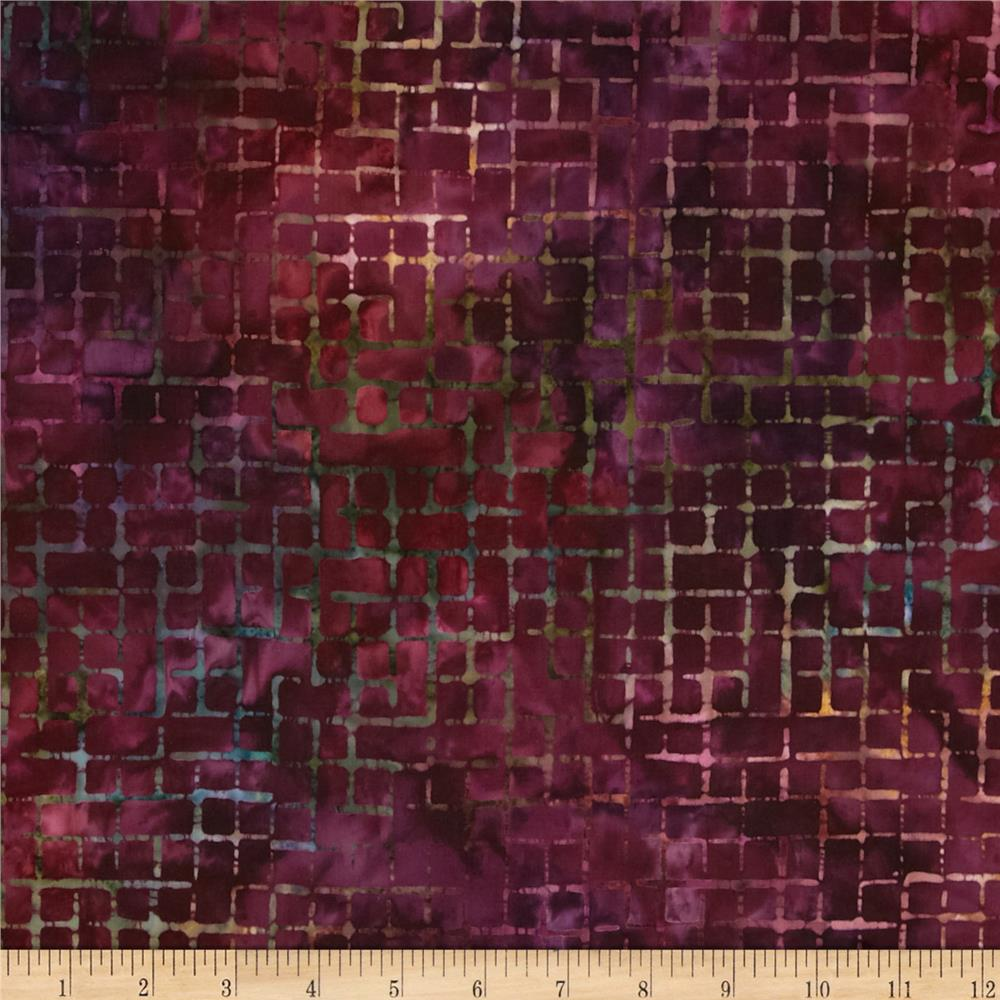 Artisan Batiks Elementals Boxed In Plaid Wineberry