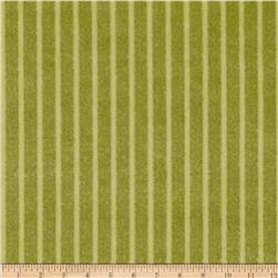 Velvet Blossoms Flannel Stripe Green Fabric