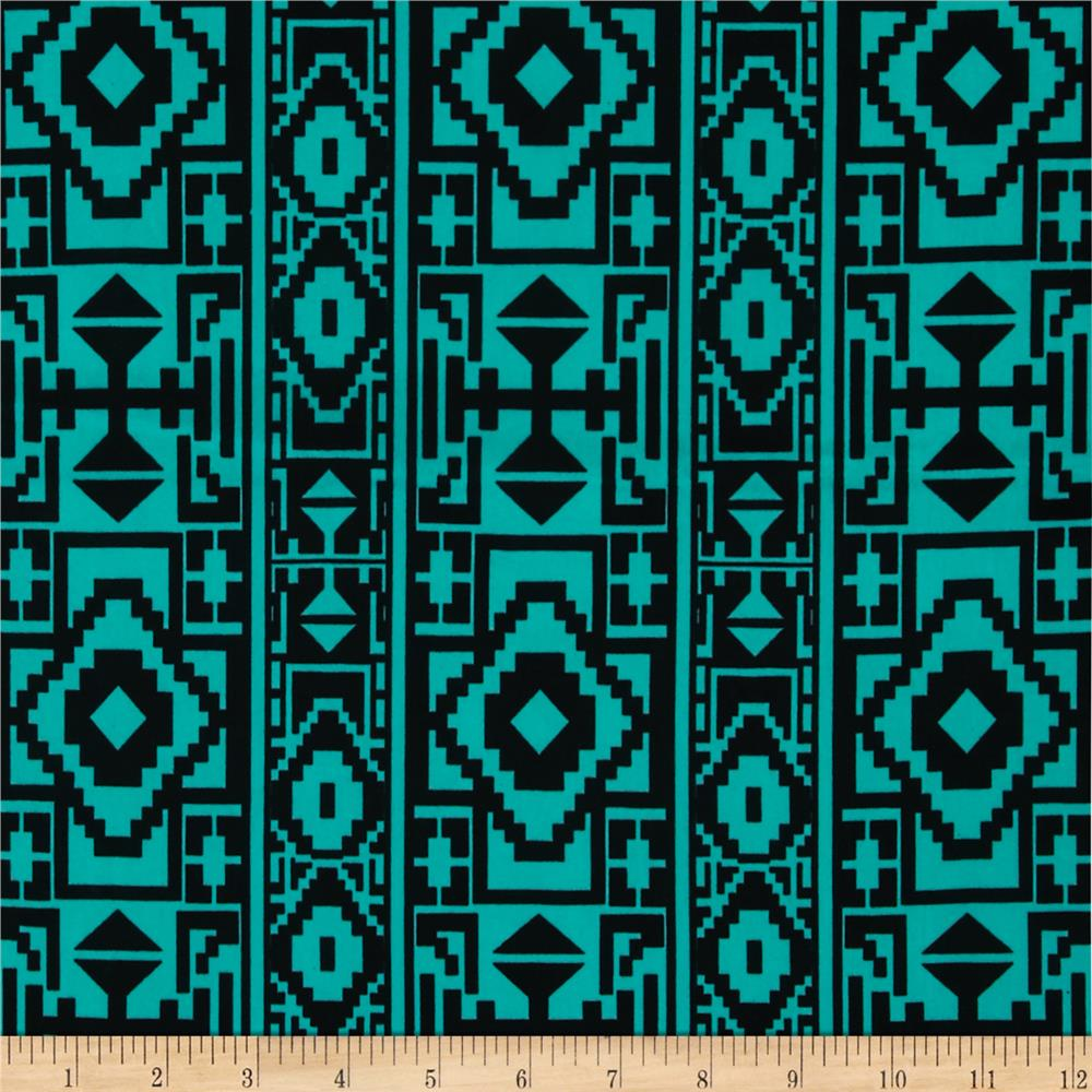 Stretch ITY Jersey Knit Aztec Teal/Black