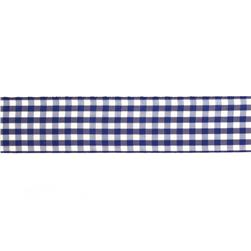 "1.5"" Gingham Ribbon Royal Blue/White"
