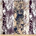 Rayon Challis Abstract Eggplant/Multi