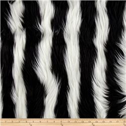 Fun Shag Faux Fur Ribbon Stripes Black/White Fabric