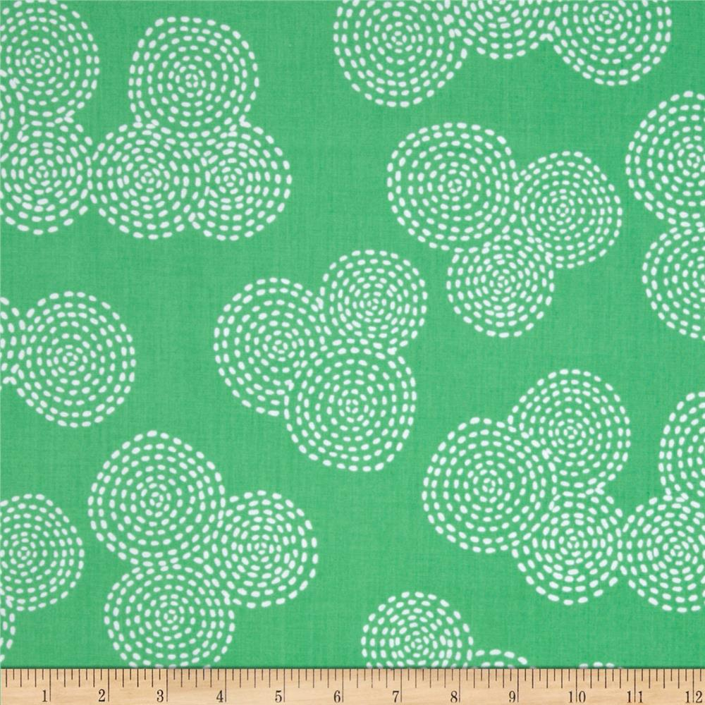 Michael Miller Stitch Floral Circle Mint