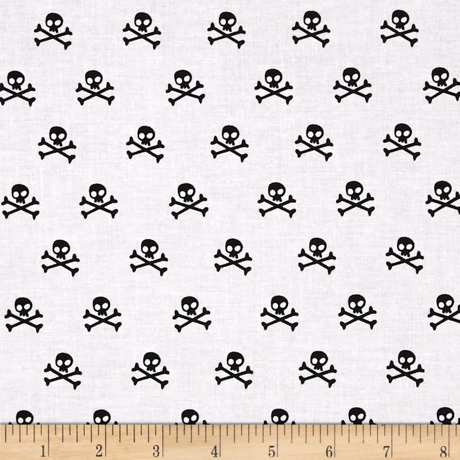 Riley Blake Military Max Skulls White