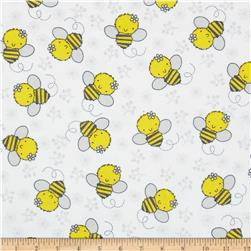 Flannel Tossed Bee White