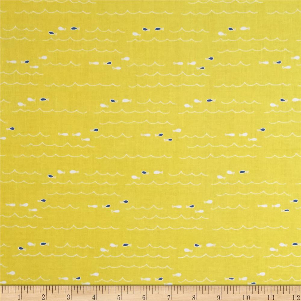 Riley Blake Saltwater Fish Yellow Fabric